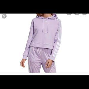 Adidas Purple Cropped Hoodie